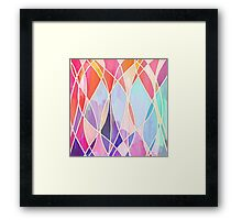 Purple & Peach Love - abstract painting in rainbow pastels Framed Print