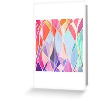 Purple & Peach Love - abstract painting in rainbow pastels Greeting Card