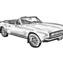 1967 Convertible Camaro Car Illustration by KWJphotoart