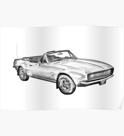 1967 Convertible Camaro Car Illustration Poster