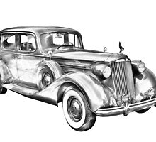 Packard Luxury Antique Car Illustration by KWJphotoart