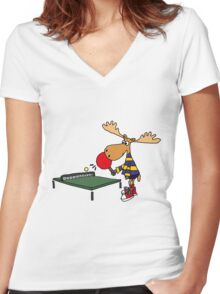 Funny Cool Moose Playing Table Tennis  Women's Fitted V-Neck T-Shirt