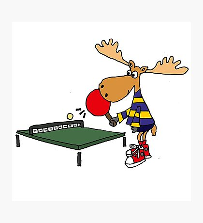 Funny Cool Moose Playing Table Tennis  Photographic Print