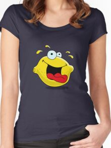 Cartoon Happy Lemon Women's Fitted Scoop T-Shirt