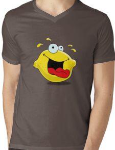 Cartoon Happy Lemon Mens V-Neck T-Shirt