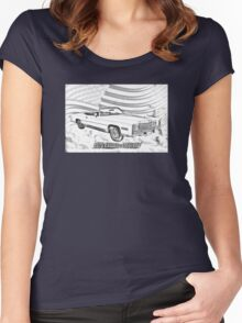 1975 Cadillac Eldorado Convertible Illustration Women's Fitted Scoop T-Shirt