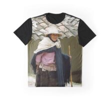 Old Lady with Walking Stick Graphic T-Shirt