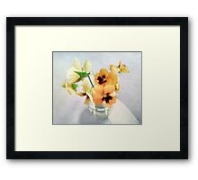 Golden Pansies Still Life Framed Print