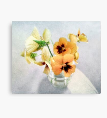 Golden Pansies Still Life Canvas Print