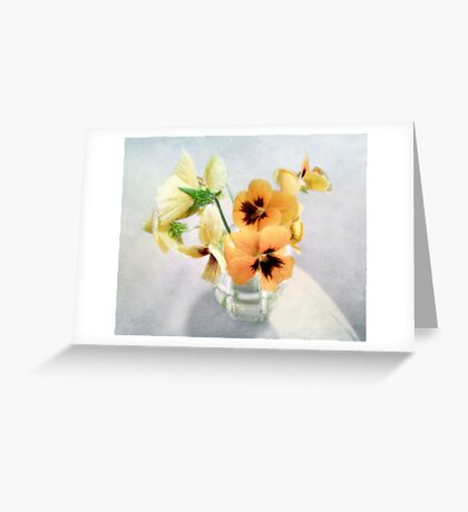Golden Pansies Still Life Greeting Card
