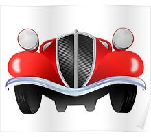 Vintage model of the car from the front view Poster
