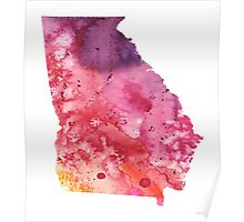 Watercolor Map of Georgia, USA in Orange, Red and Purple - Giclee Print  Poster