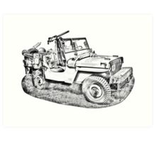 Willys World War Two Army Jeep Illustration Art Print