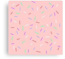 Sprinkles On Pink Background Canvas Print