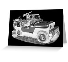 Black And White Willys World War Two Army Jeep Greeting Card
