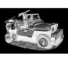 Black And White Willys World War Two Army Jeep Photographic Print