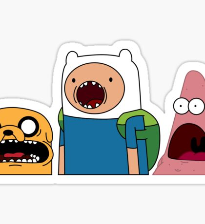 Shocked Jake, Finn & Patrick Sticker