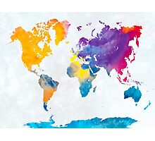 World map in watercolor 22 Photographic Print