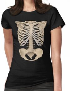 halloween Gothic Anatomy Rib Cage bones human skeleton  Womens Fitted T-Shirt