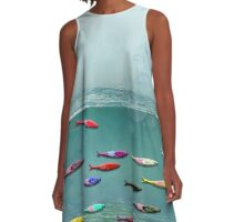 colorfull sardines in water A-Line Dress
