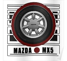 Mazda MX5 Daisy Wheel Poster