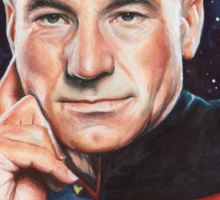 Captain Picard Portrait - Star Trek Art Sticker