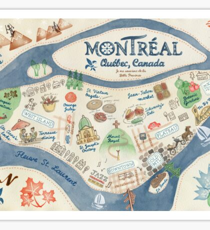 Map of Montreal, Canada Sticker