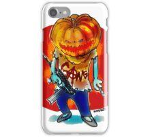 gang squad member pumpkin head with gun iPhone Case/Skin