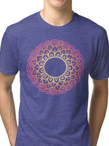 Colorful doodle flower frame . Simple flower label. Mehndi hand drawn template. Tri-blend T-Shirt