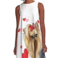 Yorkie Red Love A-Line Dress