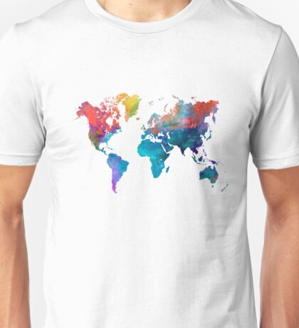World map in watercolor 24 Unisex T-Shirt