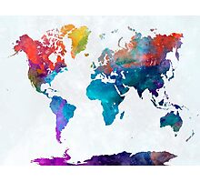 World map in watercolor 24 Photographic Print
