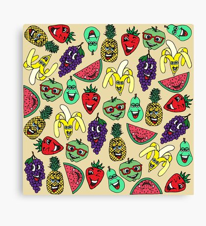 Funny Cute Fruit Illustrations Pattern Canvas Print