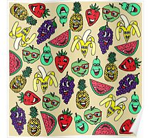 Funny Cute Fruit Illustrations Pattern Poster