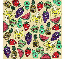 Funny Cute Fruit Illustrations Pattern Photographic Print