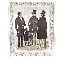 Elegant Biedermeier Gentlemen Vintage Fashion Poster