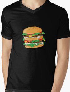 Cartoon Hamburger Mens V-Neck T-Shirt