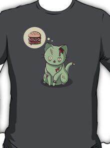 Zombie Cat Can Haz Brain Burger? T-Shirt