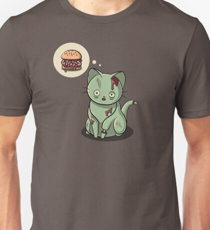 Zombie Cat Can Haz Brain Burger? Unisex T-Shirt