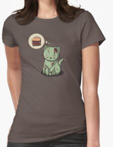 Zombie Cat Can Haz Brain Burger? Womens Fitted T-Shirt