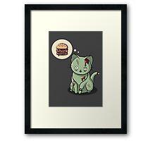 Zombie Cat Can Haz Brain Burger? Framed Print