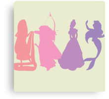 Princess Silhouettes - Pink and Purple Canvas Print