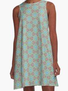 Light Blue and Dark Red Circle Pattern A-Line Dress