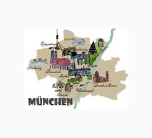 München Karte Übersicht mit den Highlights Frauenkirche, Oktoberfest & Co. Unisex T-Shirt