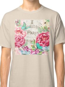 Paris Flower Market II roses, flowers, floral butterflies Classic T-Shirt