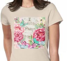Paris Flower Market II roses, flowers, floral butterflies Womens Fitted T-Shirt