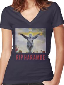 RIP Harambe - Son of God Women's Fitted V-Neck T-Shirt