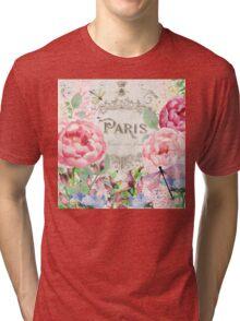 Paris Flower Market I roses, flowers, floral dragonflies Tri-blend T-Shirt