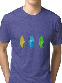 3 fish 2J  yellow blue green Tri-blend T-Shirt