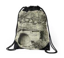 The Bag End,Black And White Illustration,Hobbit House,Vintage Dictionary Art Drawstring Bag